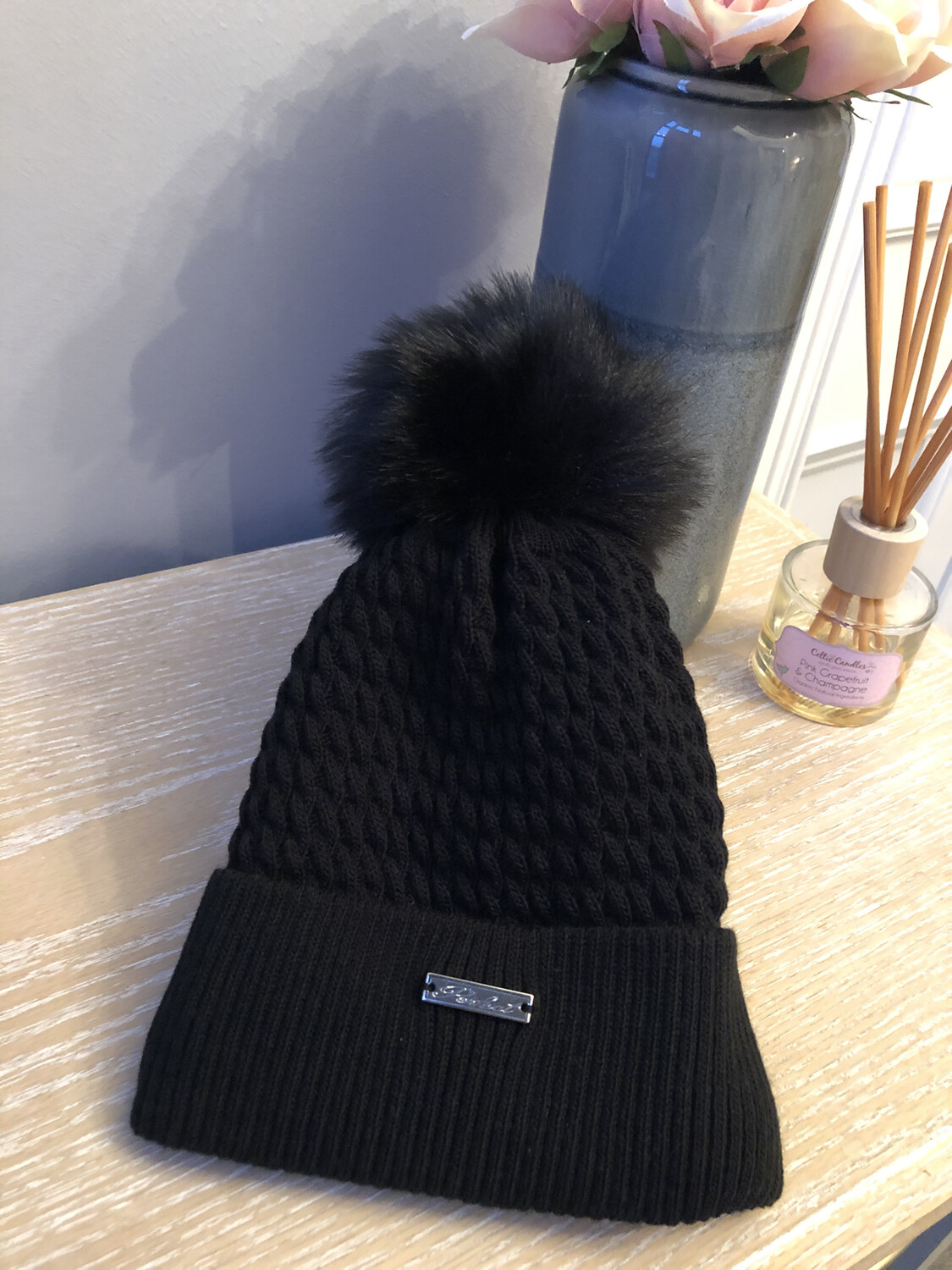 Cable Knit Fleece Lined Fur Bobble Hat Black