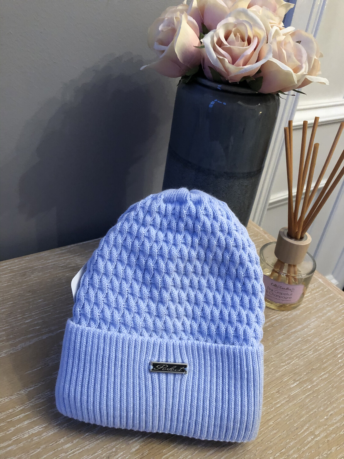 Cable Knit Fleece Lined Hat Baby Blue