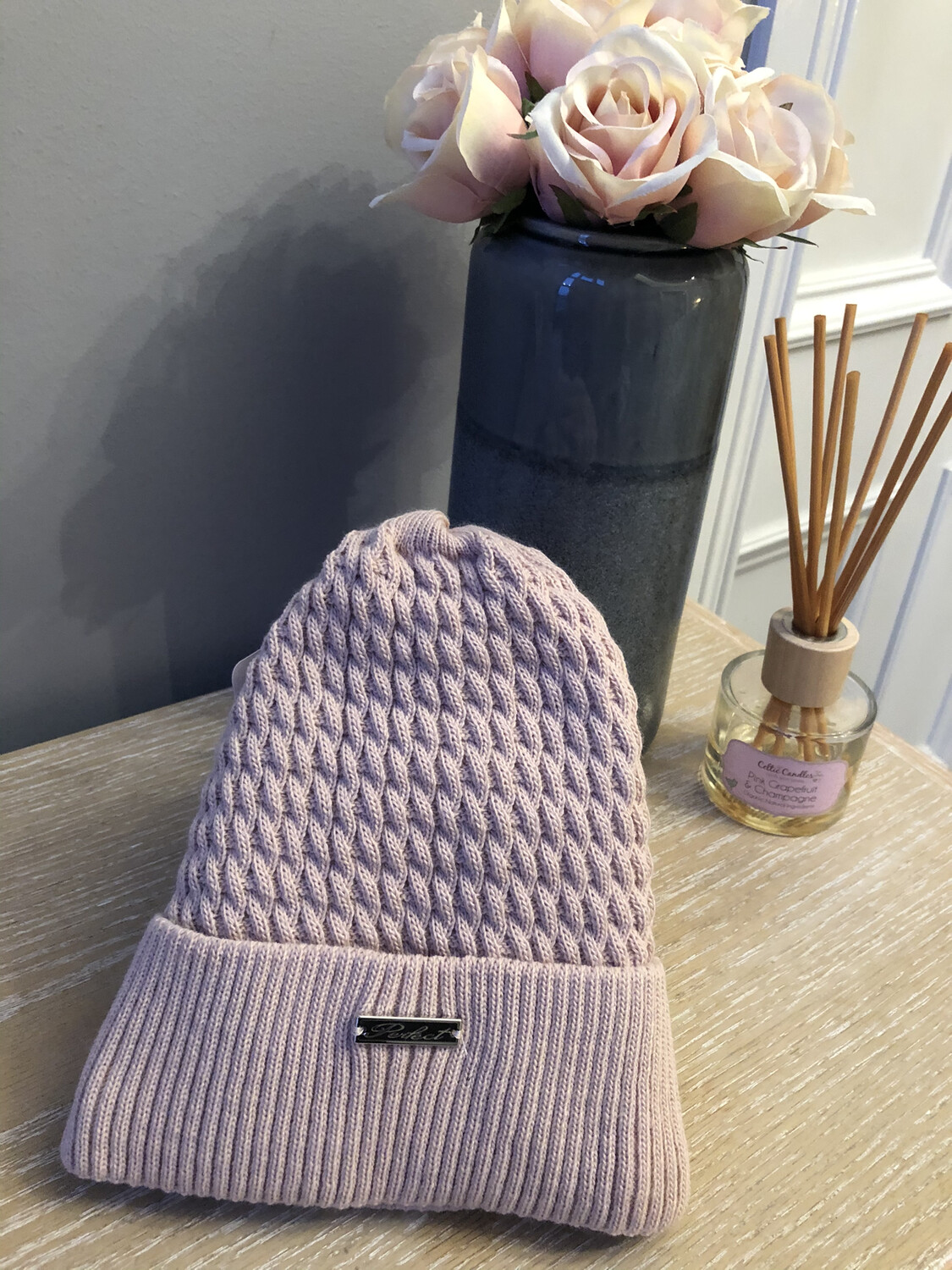 Cable Knit Fleece Lined Hat Dusky Pink