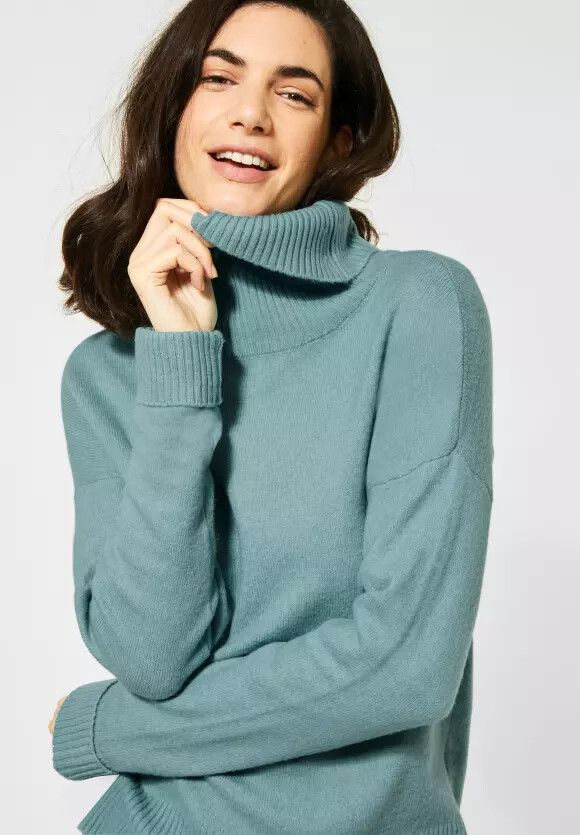 Sporty Sky Blue Polo Neck Jumper