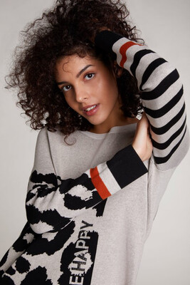 Be Happy Embellished Fine Knit Jumper
