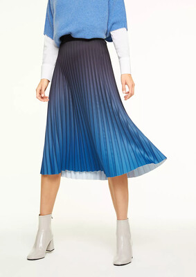 Black Pleated Skirt with Blue Detail