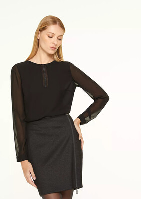 Black Blouse With Diamante Detail & Sheer Sleeve