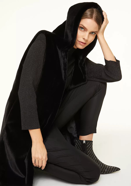Faux Fur Black Hooded Gilet