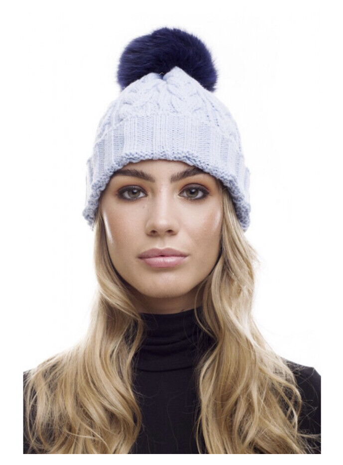 Baby Blue Cable Knit Hat With Navy Fur Pompom