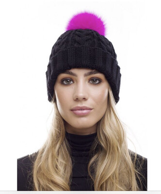 Black Cable Knit Hat With XL Hot Pink Pompom
