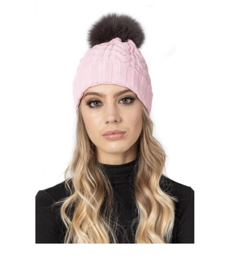 Baby Pink Cable Knit Hat With Grey Fur Pom pom