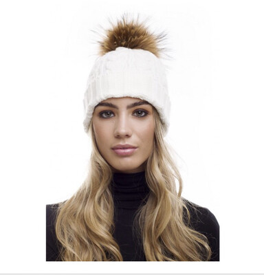 Cream Cable Knit Hat With Brown Fur Pompom