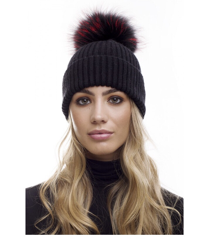 Black Cable Knit Hat With XL Colored Pompom