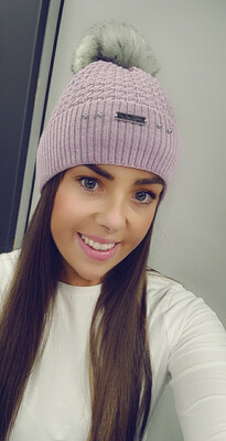 Lilac Cable Knit Fleece Lined Bobble Hat