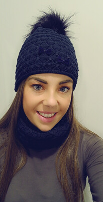 Navy Fur Bobble Hat And Snood Set With Pearl And Bow Detail