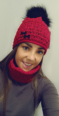 Red Fur Bobble Hat And Snood Set With Pearl And Bow Detail
