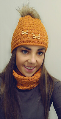 Burnt Orange Fur Bobble Hat And Snood Set With Pearl And Bow Detail