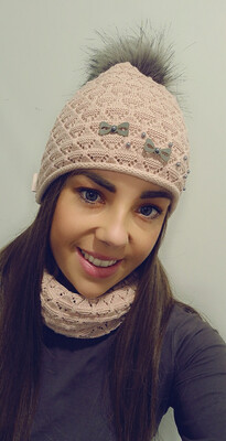 Dusky Pink Fur Bobble Hat And Snood Set With Pearl And Bow Detail