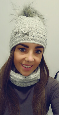 Grey Fur Bobble Hat And Snood Set With Pearl And Bow Detail