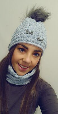 Baby Blue Fur Bobble Hat And Snood Set With Pearl And Bow Detail