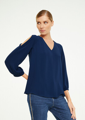 Cold Shoulder V Neck Navy Top