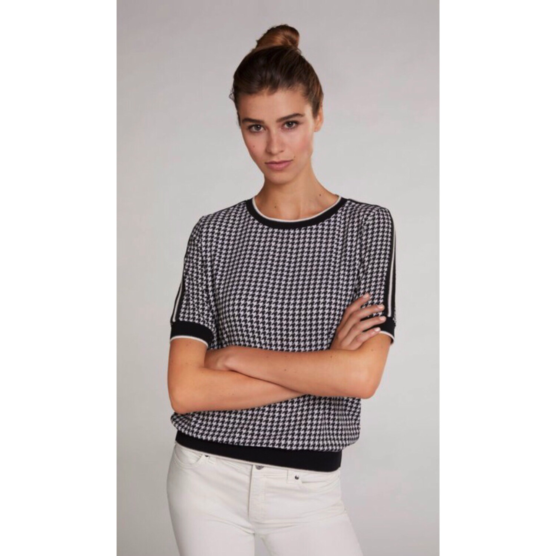 Black And Cream Print Short Sleeve Top