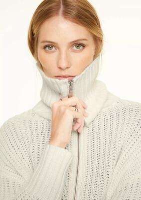 Cream Ribbed Knit High Neck Cardigan