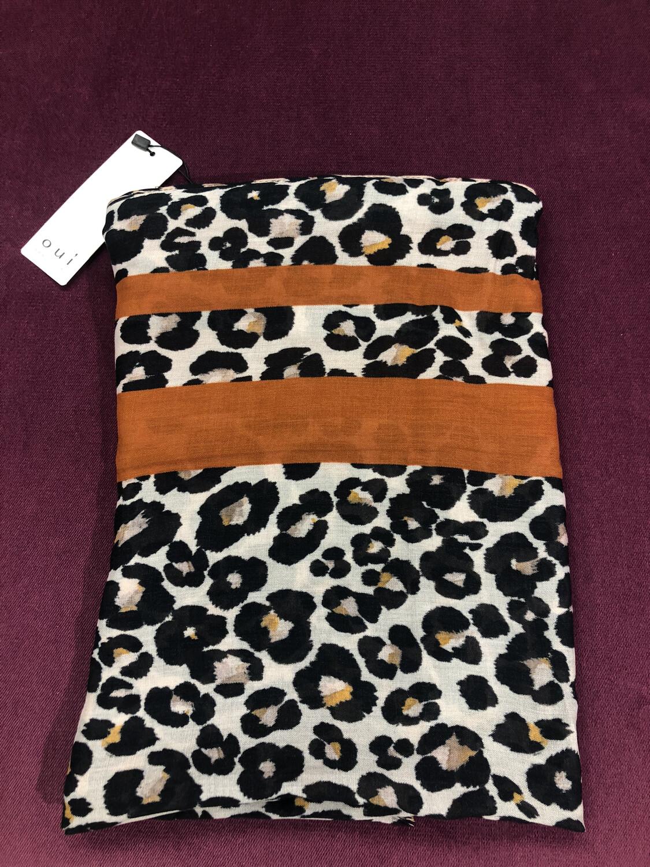 Leopard Print Scarf With Burnt Orange Trim