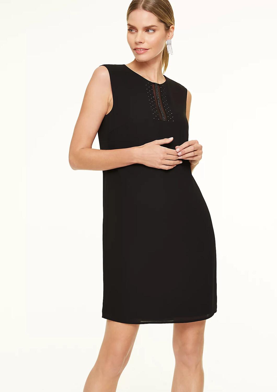 Black Chiffon Dress With Dimonte Detail