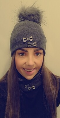 Dark Grey Fur Bobble Hat And Snood Set With Bow Detail