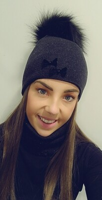 Black Fur Bobble Hat And Snood Set With Bow Detail