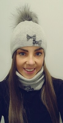 Light Grey Fur Bobble Hat And Snood Set With Bow Detail
