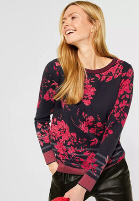 Navy And Red Floral Pullover