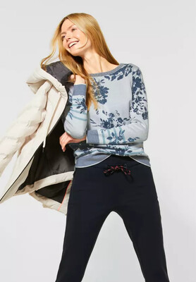 Navy And Light Grey Floral Pullover
