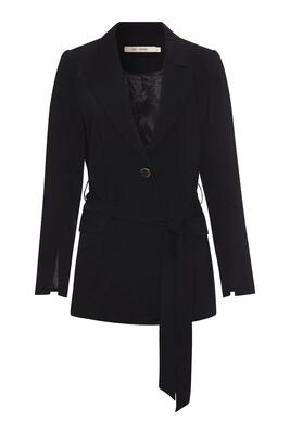 Black Blythe Blazer With Button And Tie Fastening