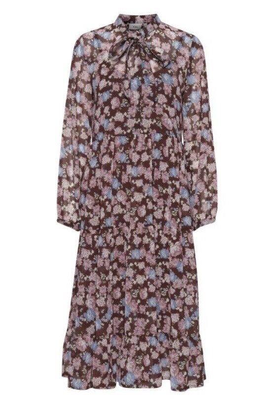 20113062 Cappuccino Long Sleeve Floral Dress
