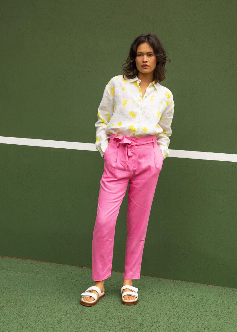 'Pensee' Rose High-Waisted Pants