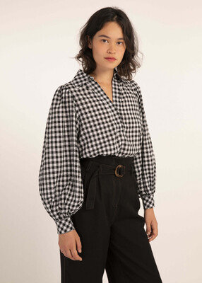 'Cala' Retro Gingham Blouse