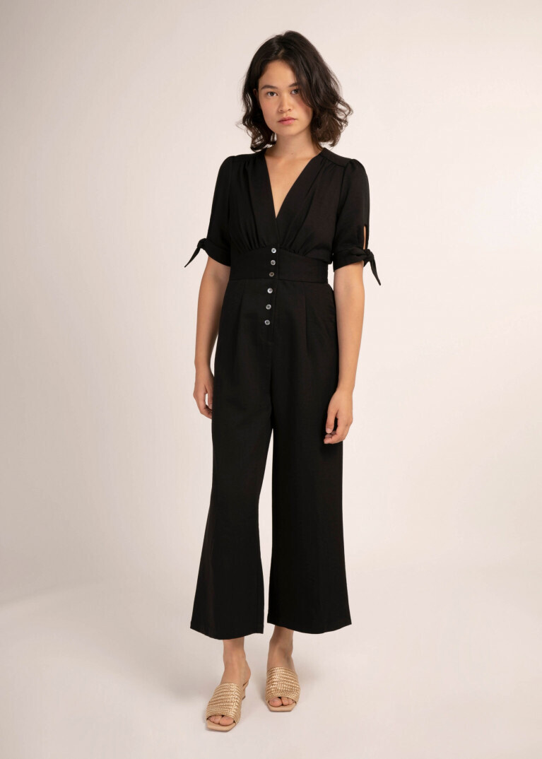 'Maela' Black Cropped Jumpsuit