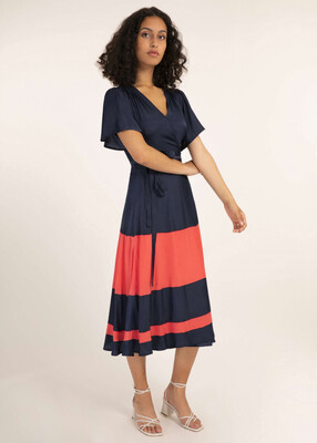'Absatou' Wrap Cut Navy and Coral Dress