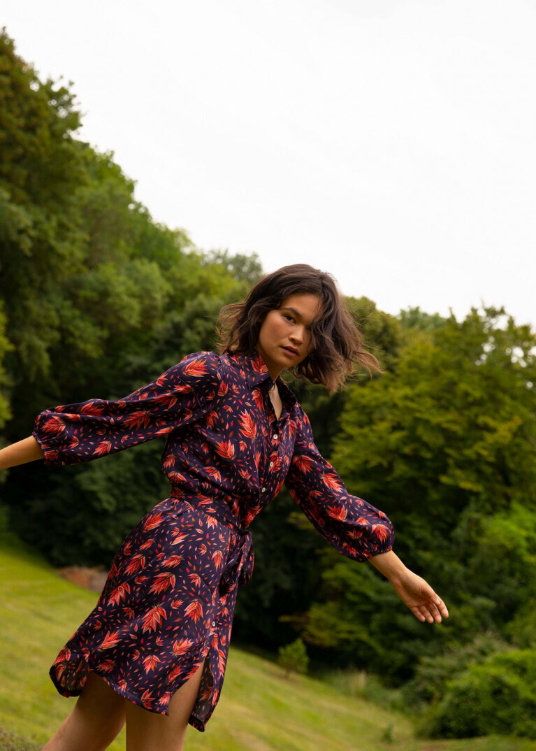 'Alessia' FRNCH Print Belted Shirt Dress