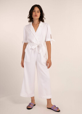'Margot' White Cropped Jumpsuit