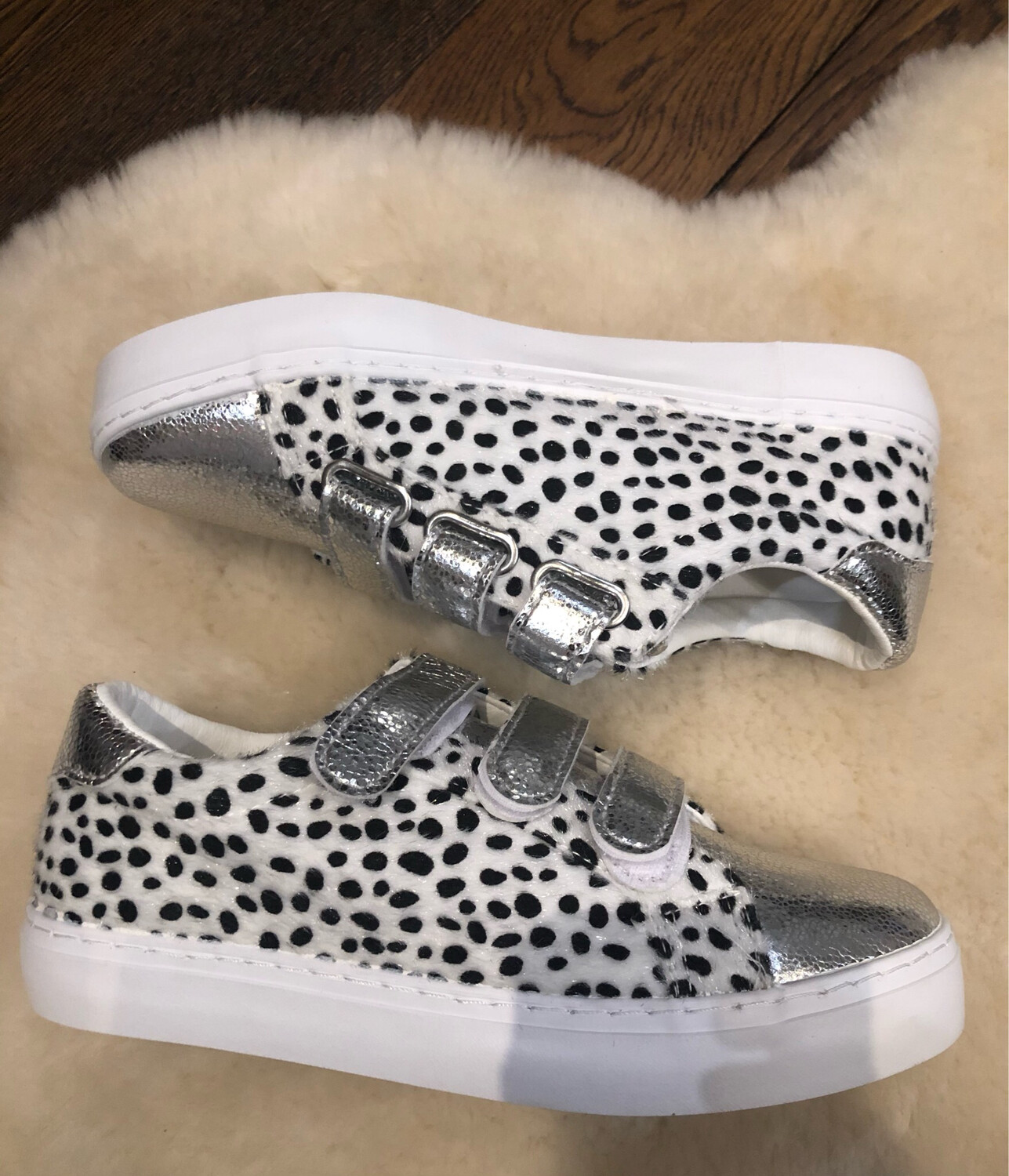 Silver Velcro Strap Trainer with Dalmation Print