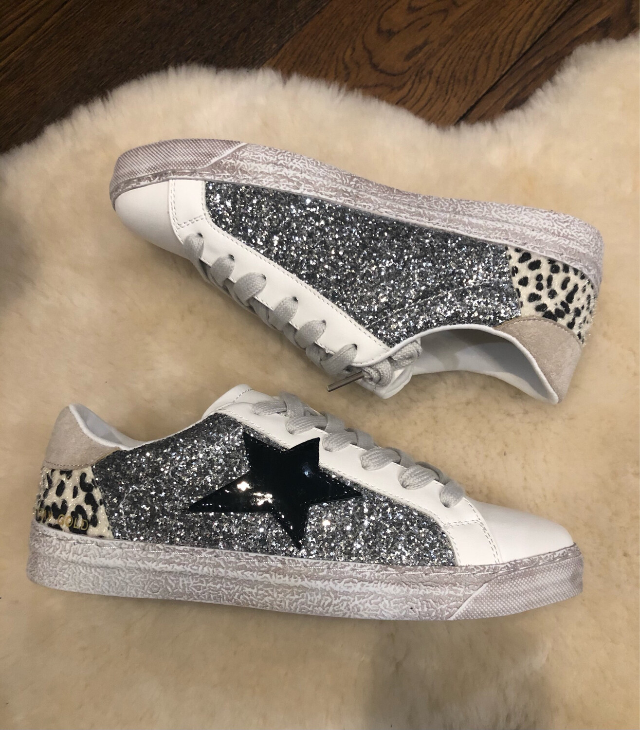 White Trainer with Star & Sparkle Detail