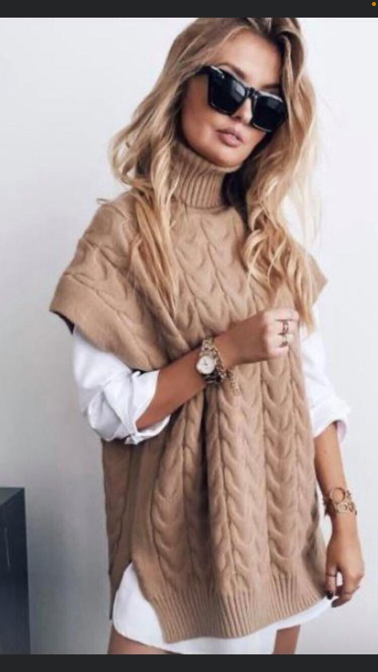 Camel Cable Knit Over Slip - One Size 8 - 16