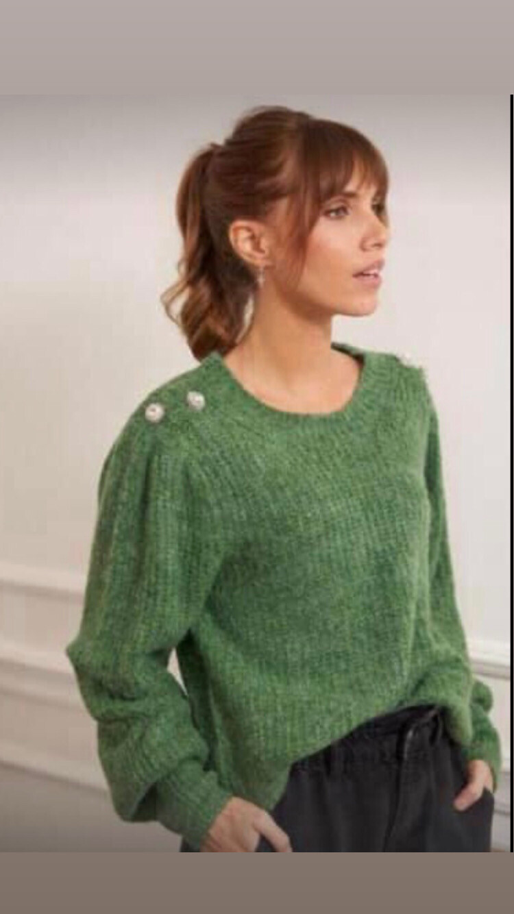 Lea Green Knit with Decorative Button Detail - One Size - 8-14