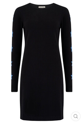 Olive Knit Dress - Black/Blue, Star Sleeve