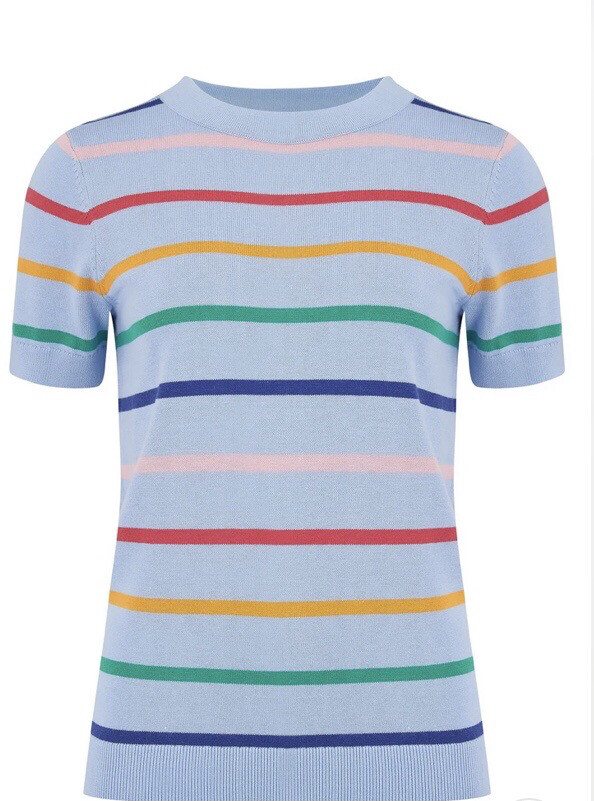 Anoki Knitted Tee - Light Blue, Daytripper Stripes