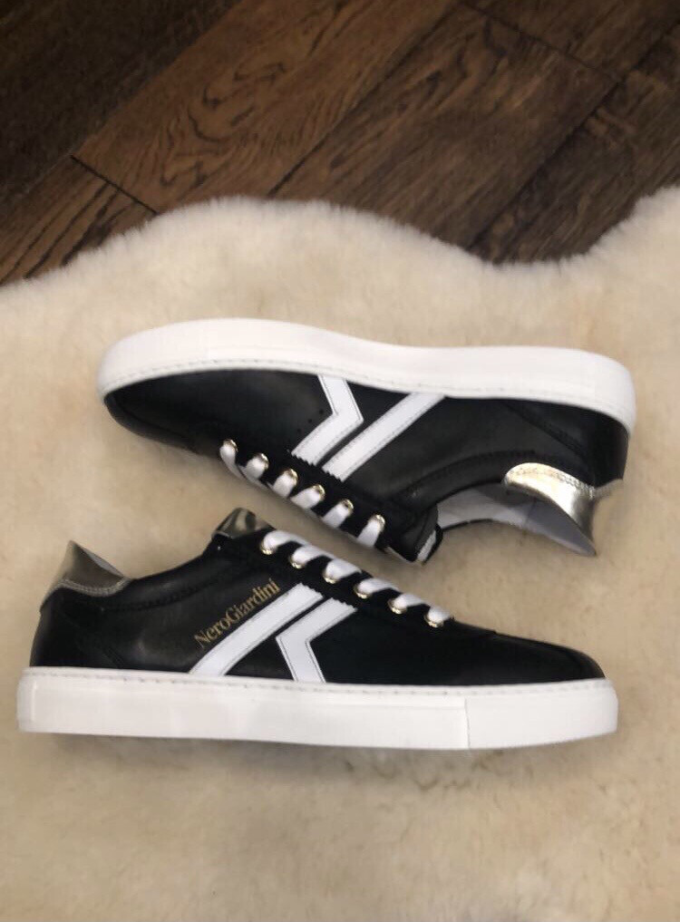 Black Leather Trainer with White and Gold Detail
