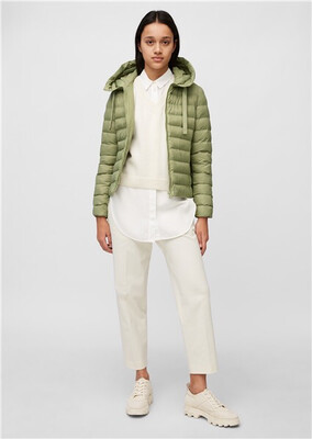 SUSTAINABLE Dried Sage Hooded Quilted Jacket Slow Down - No Down