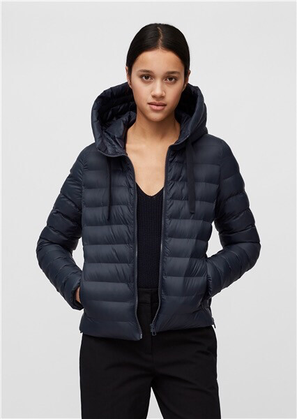 SUSTAINABLE Mid Night Blue Hooded Quilted Jacket Slow Down - No Down