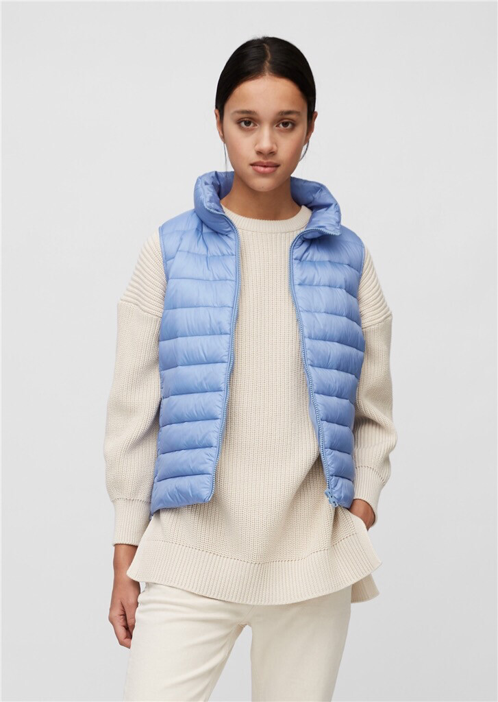 SUSTAINABLE Blue Note Quilted Body Warmer with Side Zip Detail