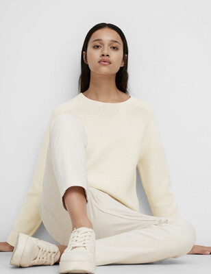 SUSTAINABLE Raw Cream Knit Jumper With a Seamless Finish