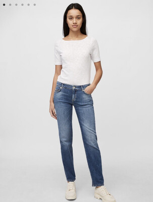 Alby Mid Waist Straight Leg Jeans - Cashmere Touch